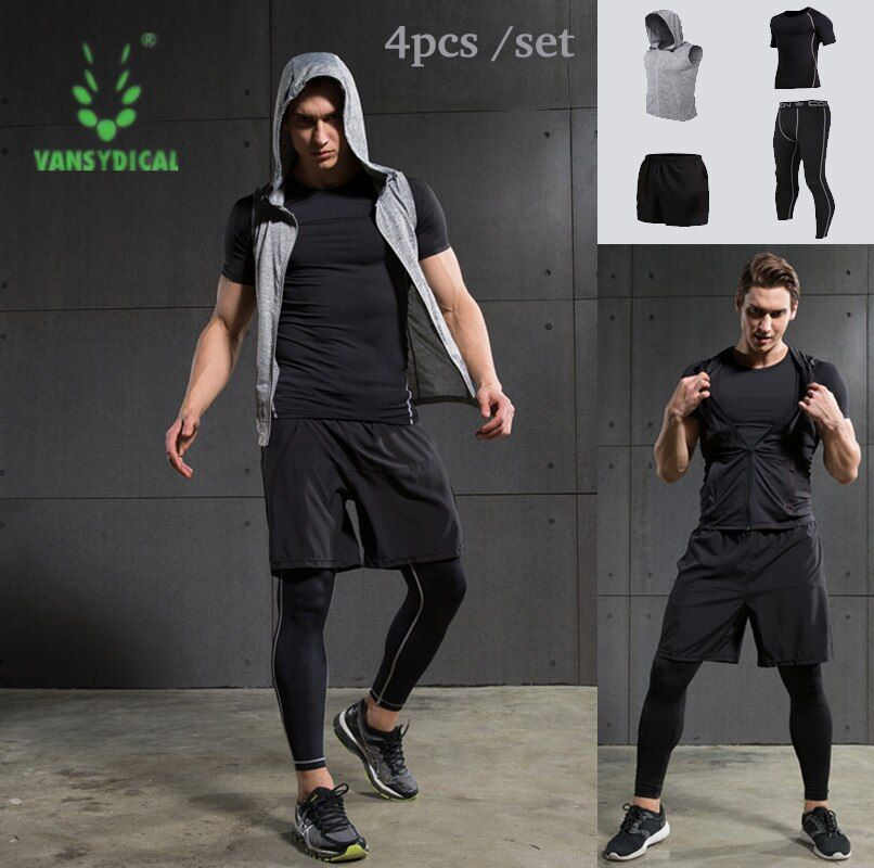 4pcs Men Sports Suit Outerdoor cloth Tights basketball Tracksuit sports jersey Male Fitness Wicking Gym Training Run Set Men