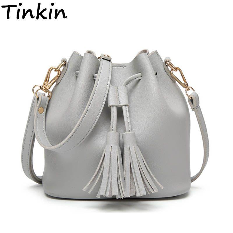Tinkin Summer Tassel Women Shoulder Bag Casual Messenger Bag All-match Women Bag <font><b>Color</b></font>:brown,gray,green