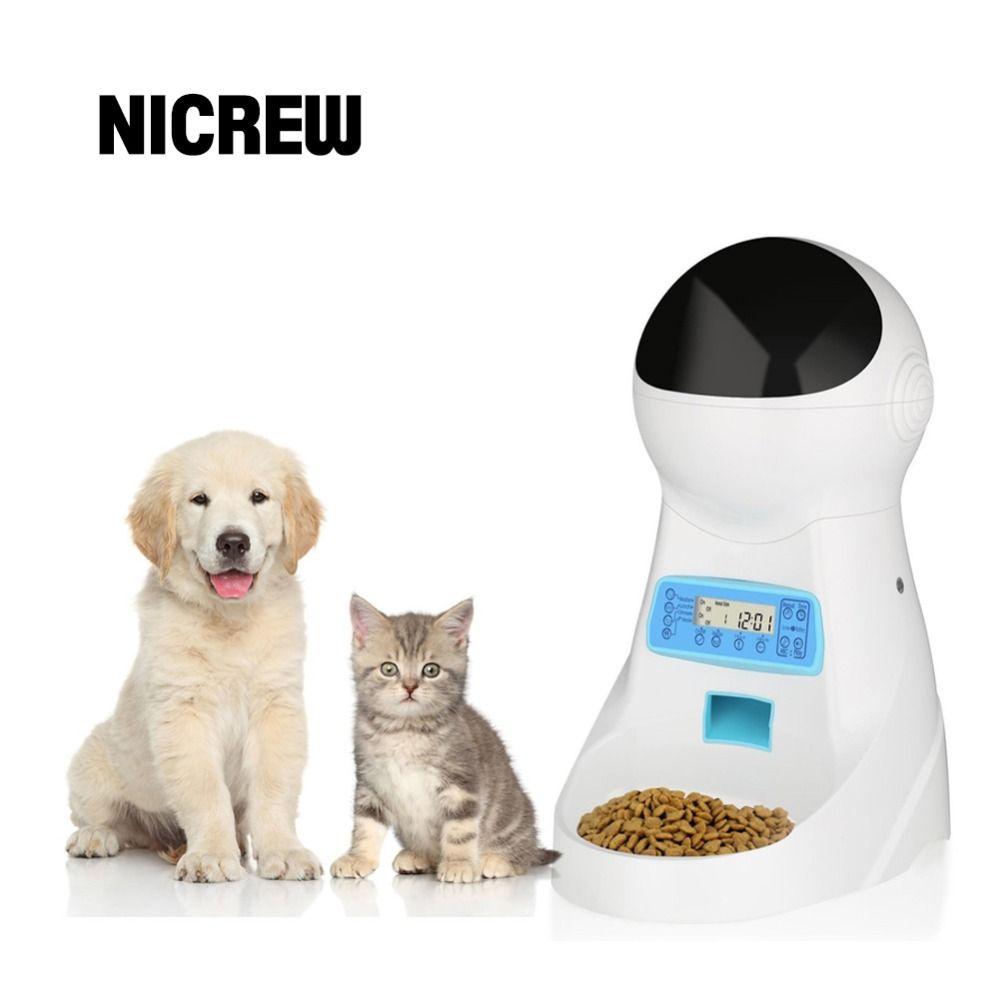 Nicrew Pet-U 3L Automatische Tiernahrung Feeder Stimme Aufnahme/LCD Bildschirm Schüssel Für Medium Kleine Hund Katze spender 4 mal Einen Tag