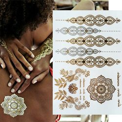 Mujeres oro tatuaje flash tatuajes transferible joyería henna tatuaje cuerpo arte producto del sexo pegatinas tatuaje temporal
