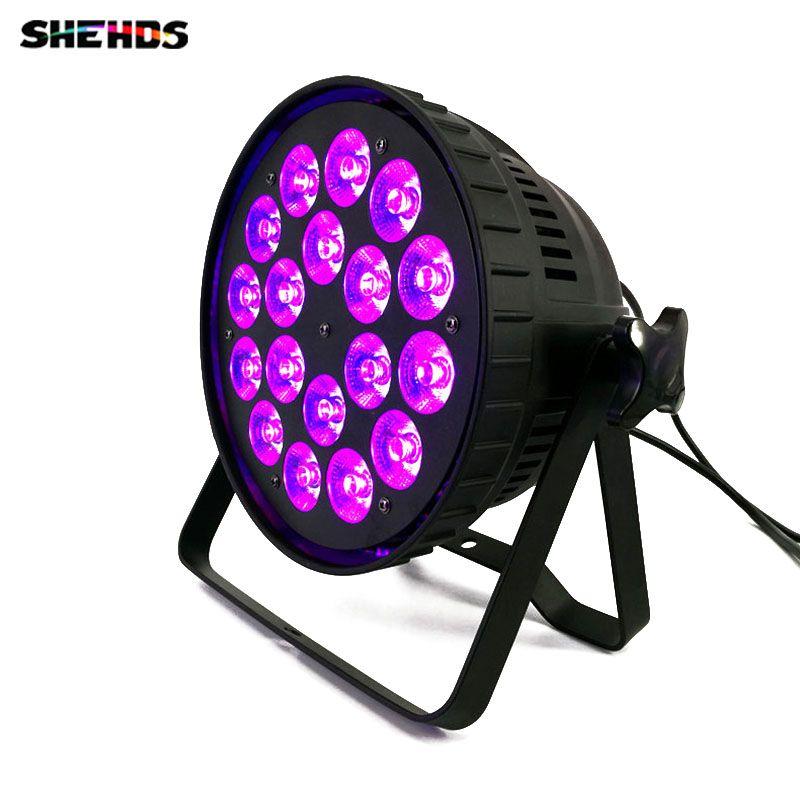 Aluminum alloy LED (Flat) Par 18x18W RGBWA+UV 6in1 LED Par Can Spotlight DJ projector Wash Stage Lighting Party lights DMX512