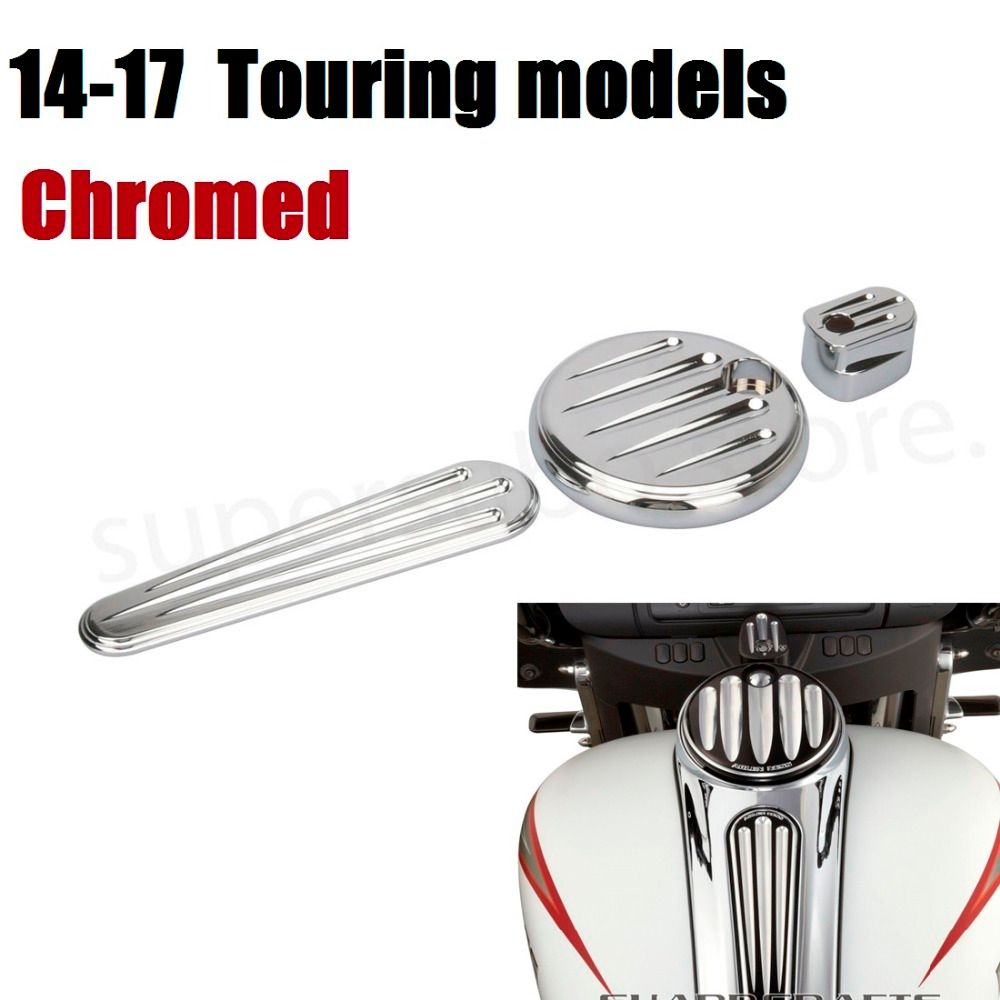 Motorcycle CNC Chrome Dash cover chromed Pack Ignition Fuel Door Dash For Harley Road Glide Touring 2014-2017