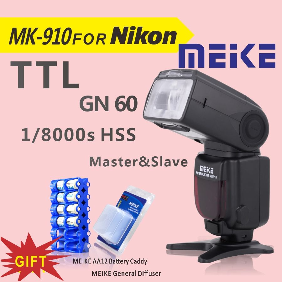 MEKE Meike MK 910 1/8000s sync TTL Camera <font><b>Flash</b></font> Speedlite for nikon d7100 d7000 d5100 d5000 d5200 d90 d70+Free GIFT