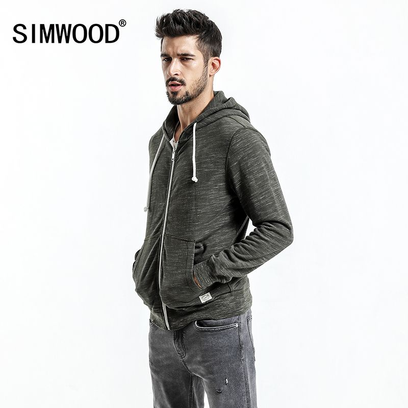 SIMWOOD 2018 Autumn  New Hoodies Jacket Men Casual Zipper Sweatshirts Kangaroo Pocket Slim Fit Plus Size Brand Clothing WK017001