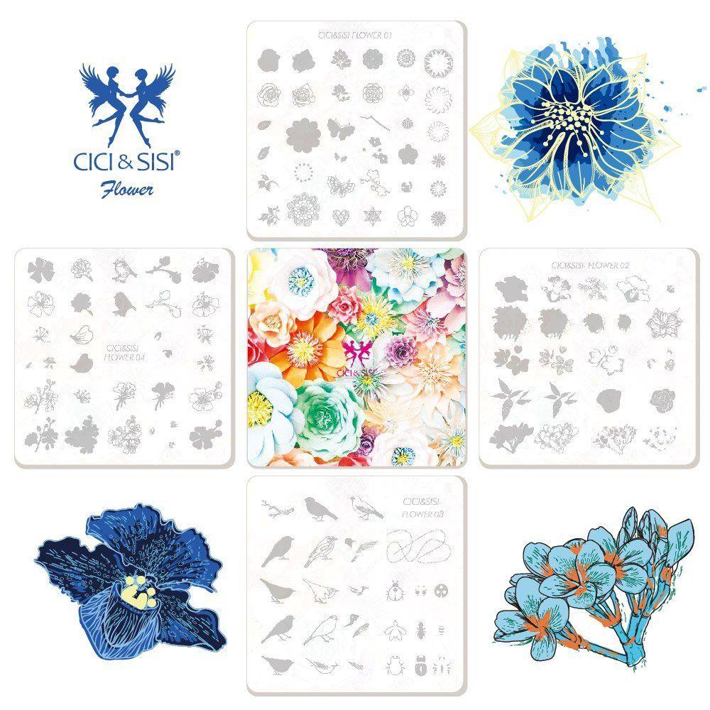 Акриловый цветок Стиль Трафареты для дизайна ногтей штамповки Таблички Дизайн ногтей изображения Польский Stamp Трафарет DIY Инструменты