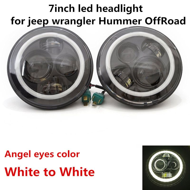 1 Pair White halo Ring 7 inch LED Headlight for Jeep JK LJ CJ Hummer H1 H2 Front Driving Headlamp Styling with DRL Angel eyes
