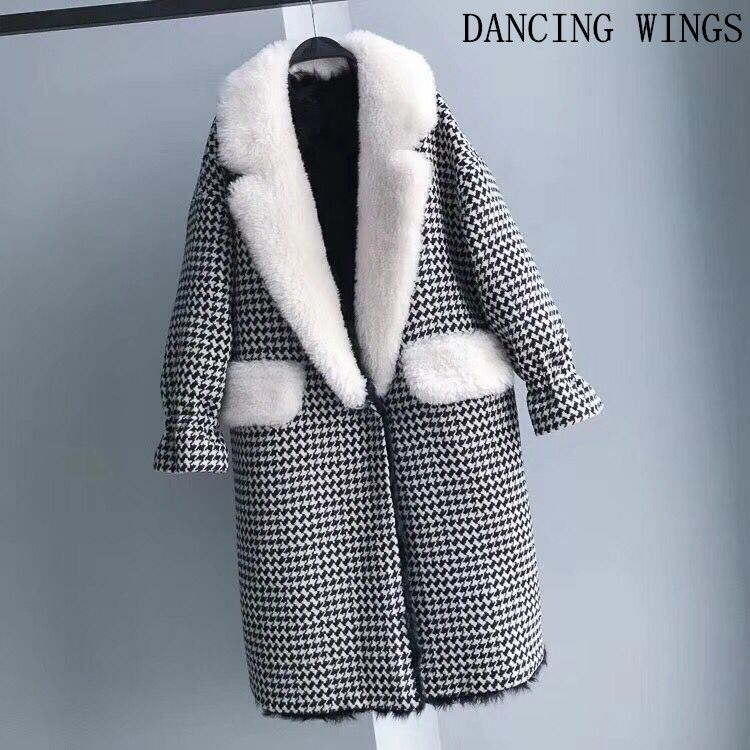 Plaid Style Real Fur Wool Coat Winter Jacket Natural Lamb Fur Liner Women Coat Suit Collar Thick Warm Women Long Parka