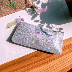 Bordir Unicorn MAKEUP SIKAT Tas Kantong untuk Wanita Payet Laser Kosmetik Tas Penyimpanan De Maquillage Organizer Pensil Tas