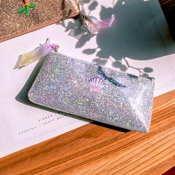 Embroidery unicorn makeup brush bags pouch for women sequins laser cosmetic case trousse de maquillage organizer pencil bags