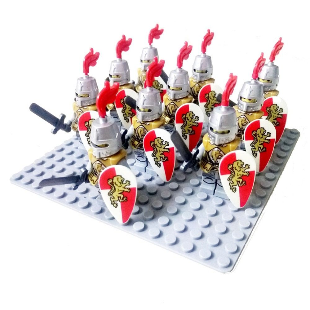 10pcs Middle Ages Rome Golden Knight Hawk Castle king knights compatible Blue lion Building Block Dragon knight
