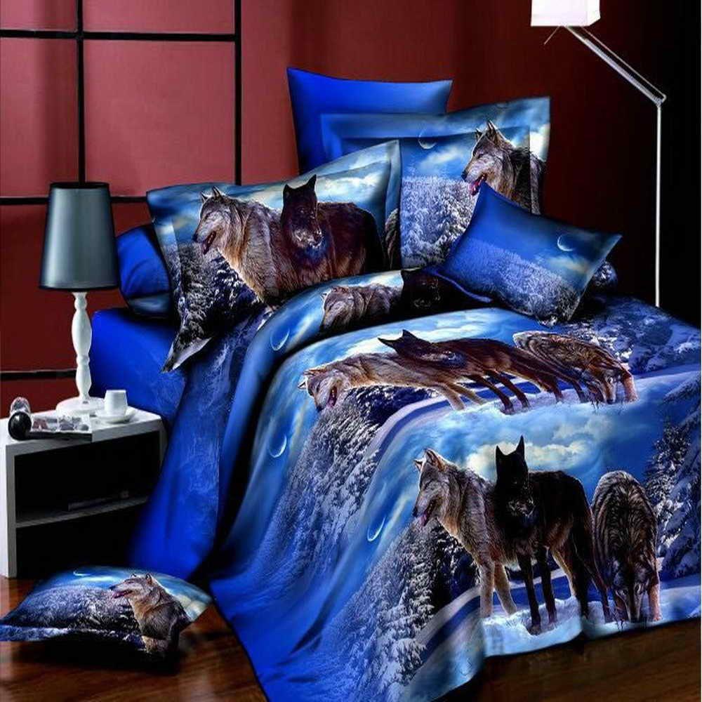Nouveau 3D Literie Loups Animaux ensembles De Literie housse de couette parure de lit drap de lit taille Queen 4 pcs Loups comme un