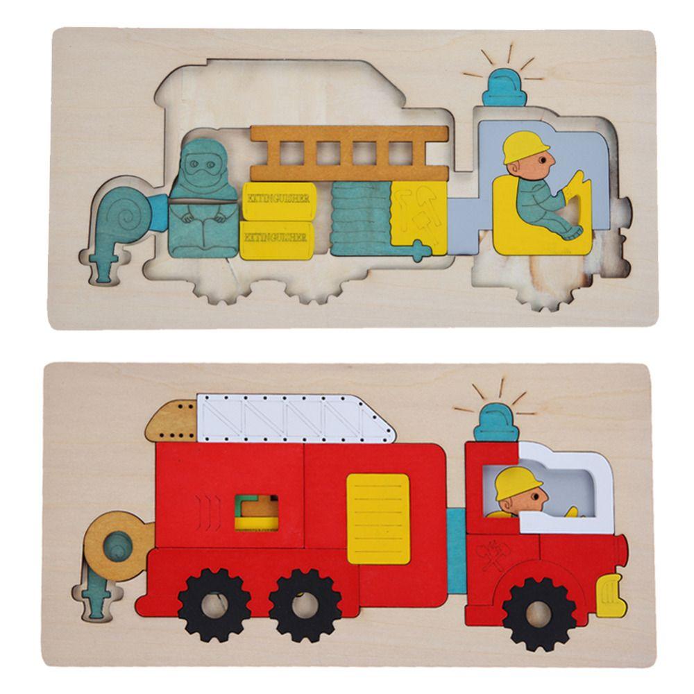 Juguetes de madera de Múltiples Capas Rompecabezas de Juguete Juguetes de La Educación Temprana Para Niños 3D Rompecabezas Historia Combates Camión de Bomberos de Juguete de Madera