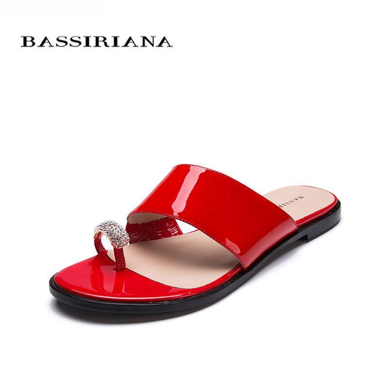 Обувь женщина натуральная кожа Летом 2017 Красный Черный Белый лакированной кожи Снаружи тапочки сандалии 35-41 Бесплатная доставка BASSIRIANA