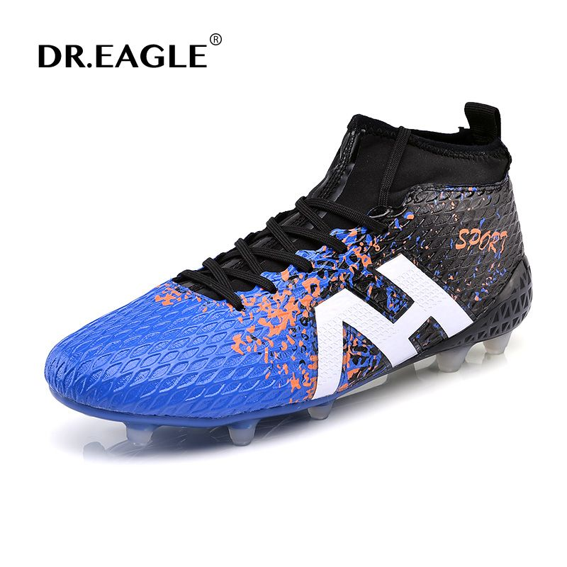 DR.EAGLE high ankle football boots soccer shoes with ankle sock original soccer cleats superfly for AG/FG 39-44