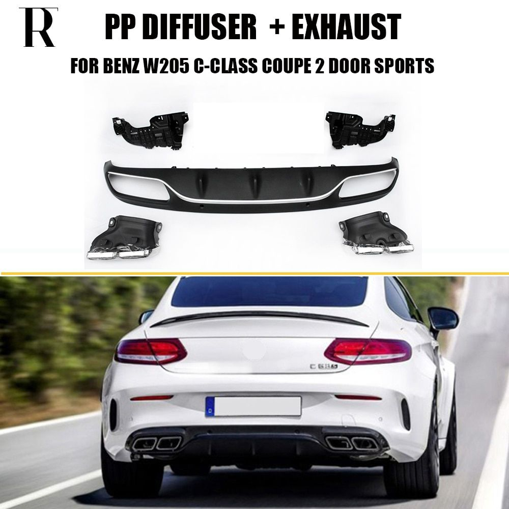 C63 Style 4 Outlet PP Rear Diffuser with Exhaust Tips for Benz W205 Coupe 2DR Sports Model C200 C300 C43 Change to C63 AMG Look
