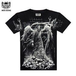 [Men bone] Hot Fashion men 3D Drop Dead Grim Reaper style Black Sabbath Punisher skull 3D printing T-shirts Cotton sleeve