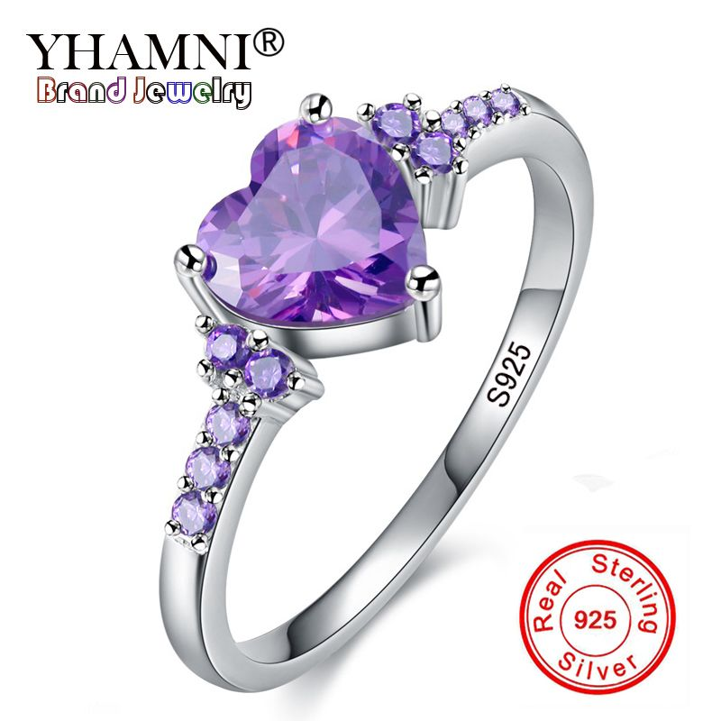 Lose Money 99% OFF! Real Solid 925 Silver Rings Fashion Wedding Zircon Jewelry Natural Heart Purple Crystal Rings for Women Gift