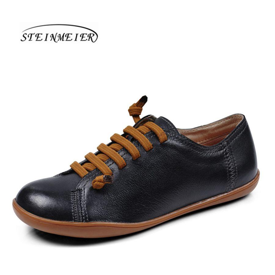 Мужские из натуральной овечьей кожи Повседневная Удобная обувь на плоской подошве дышащая черный коричневый Лоферы кроссовки кожаные туфл...