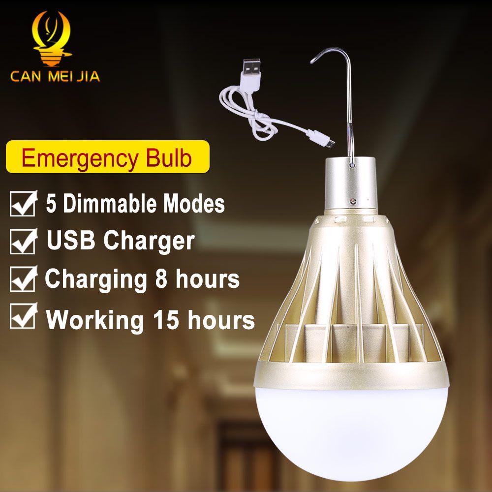 E27 LED ampoules de secours lampe de LED rechargeable par usb Bombillas 12 W 20 W 30 W 40 W LED s nuit lampes suspendues éclairage intérieur extérieur