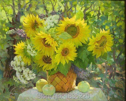 Hand painted canvas picture sunflower oil modern paintings home decor modern painting oil paintings for sale for home decors