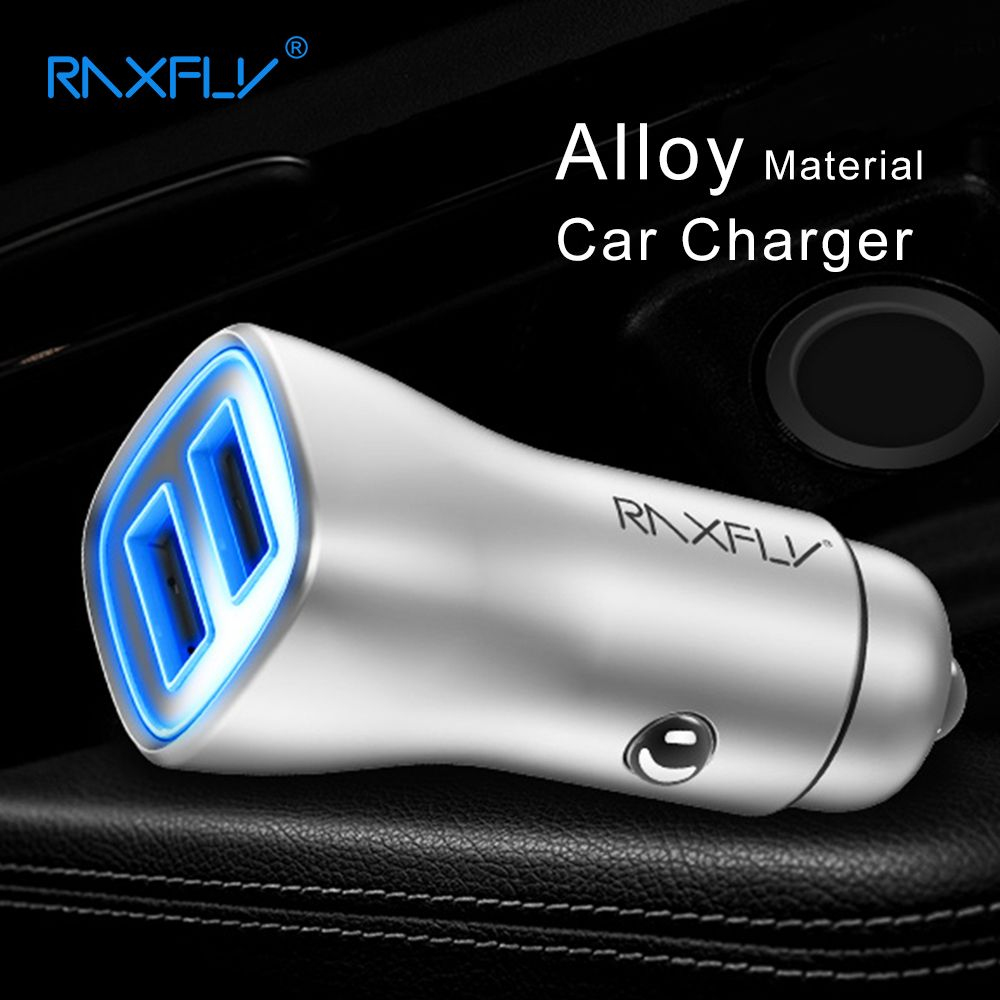RAXFLY 2 Ports USB Chargeur De Voiture Universel USB Téléphone De Voiture-Chargeur Adaptateur Voiture USB Chargeur Pour iPhone Samsung Xiaomi Huawei Charge