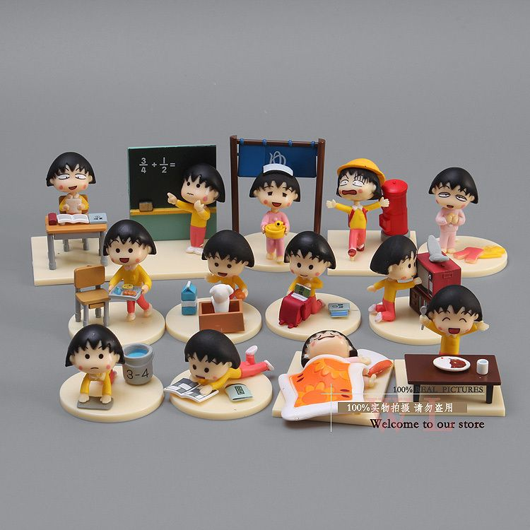 Free Shipping Japanese Anime Cartoon Chibi Maruko Chan PVC Action Figure Sakura Momoko Happy Day Figure Toys Dolls 12pcs CMFG002