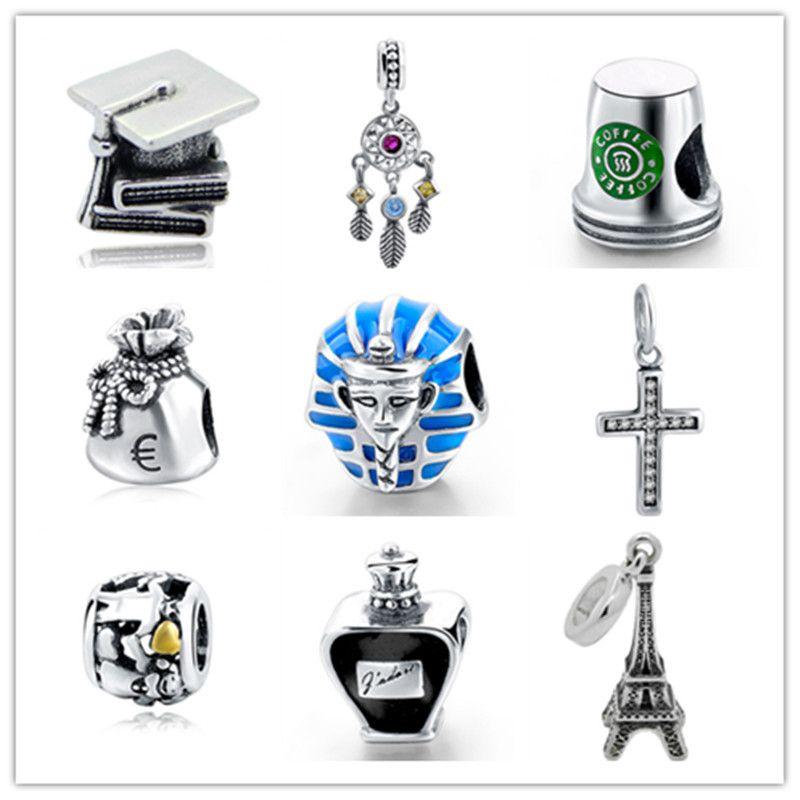 Petite fille véritable 925 argent Sterling tour Eiffel tasse à café breloque à perles Original bricolage Bracelet pandora fabrication de bijoux cadeau