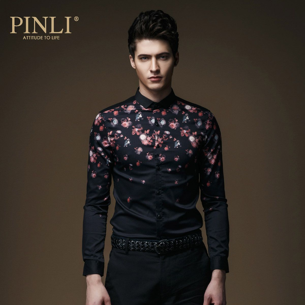 2017 Hot Sale New Pinli Product Made The British Accent And Men's Fashion Cultivate Morality Micro C064 Led Long Sleeve Shirt