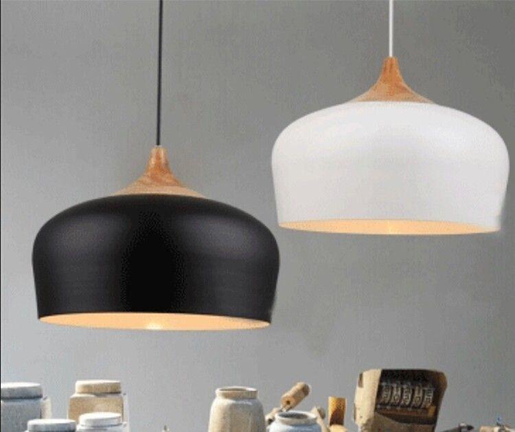 Freies verschiffen Moderne pendelleuchte Eichenholz lampe E27 sockel holz fassung Hängen licht weiß schwarz Optional 300mm/350mm