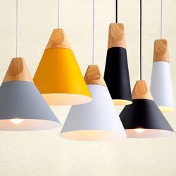 Moderne Bois Salle À Manger Lumières Pendentif Lampe Art Pendentif Lumières Lamparas Coloré En Aluminium abat-jour Luminaire Pour La Maison Éclairage