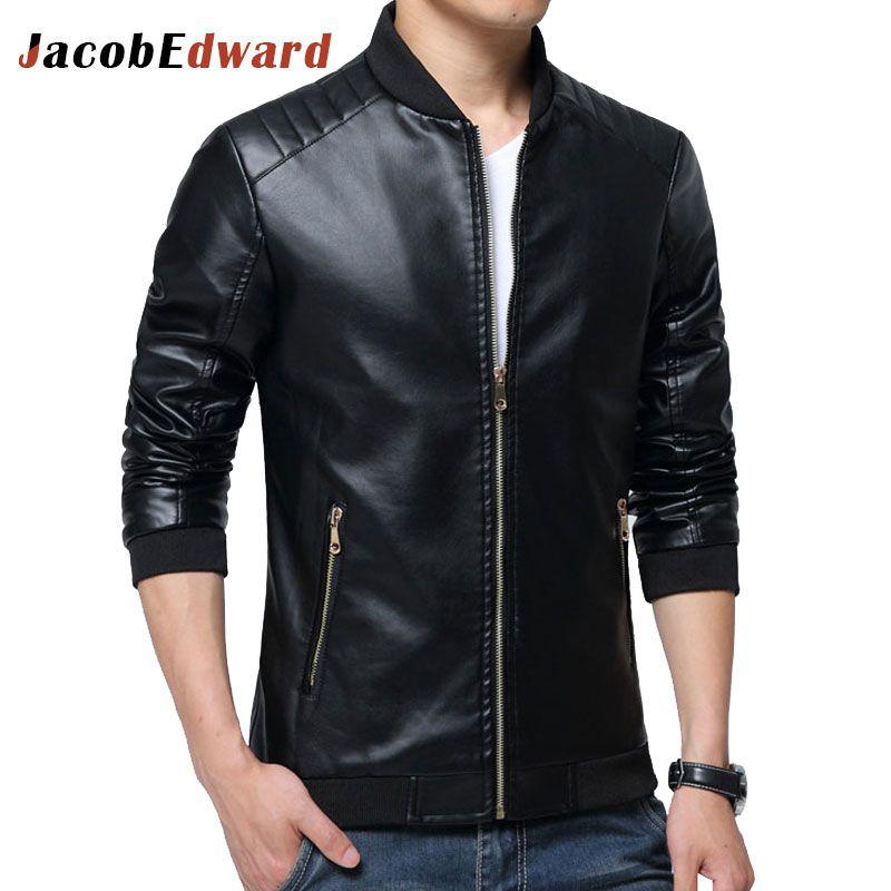 JacobEdward Leather Jackets Mens PU Jacket 2017 Autumn Winter New Leather Jackets Clothing Long Sleeve Coat Jaqueta De Couro