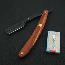 Poignée en bois massif salon de coiffure hair cut rasoir rasage rasoir, Cheveux coiffeur professionnel couteaux rasoirs changement lame type couteau