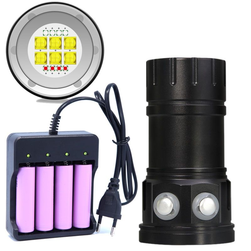 New Diving Flashlight 18650 Torch Underwater Photography Lights Video Lamp White Red Blue LED Scuba Photo Fill lighting