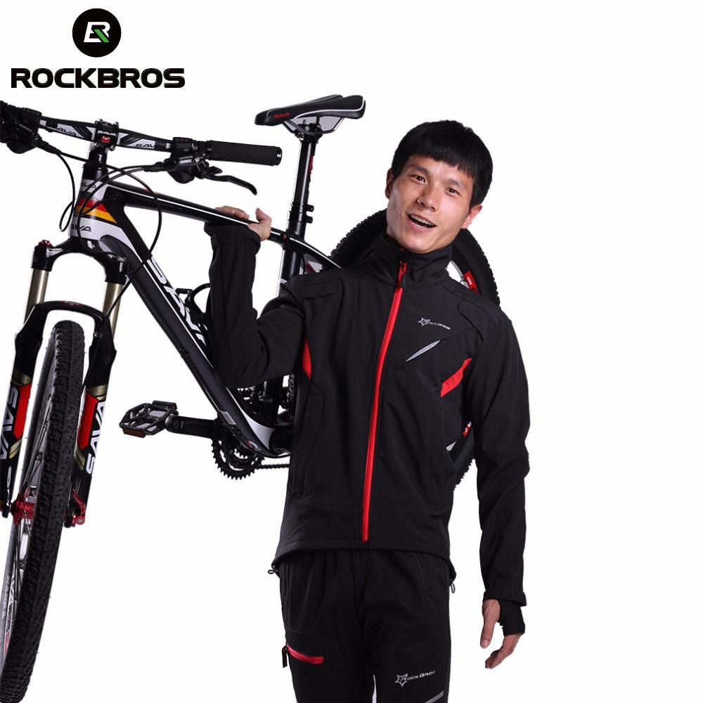 ROCKBROS Cycling Winter Sport Jacket Fleece Thermal Warm Windproof Riding Bicycle jerseys Water Resistant Bike Reflective Jacket
