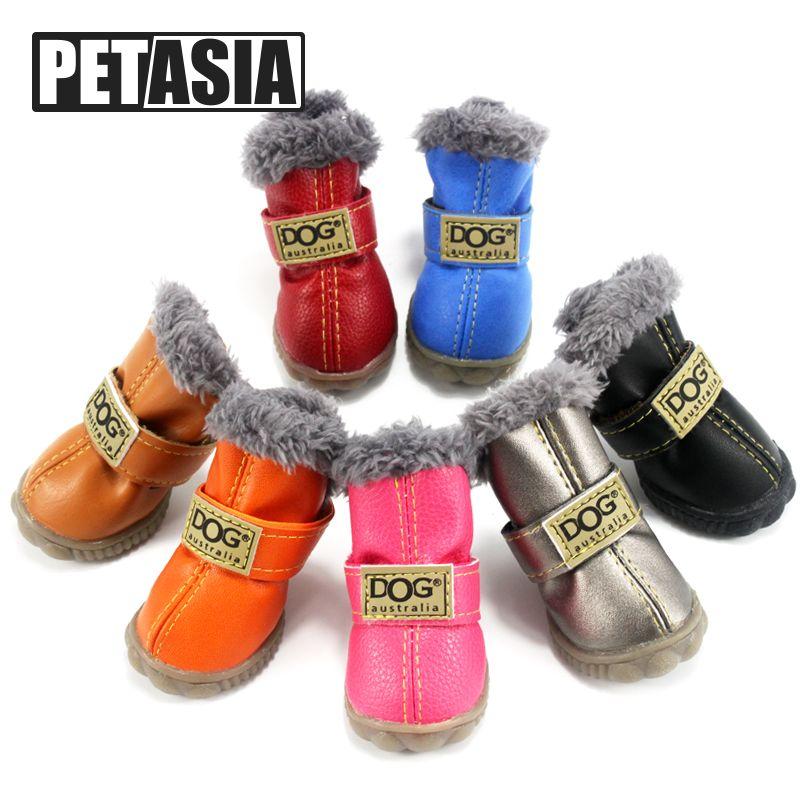Hiver chien chaussures bottes de neige chaudes fourrure imperméable 4 pièces/ensemble petits chiens coton antidérapant XS pour ChiHuaHua carlin produit pour animaux de compagnie PETASIA