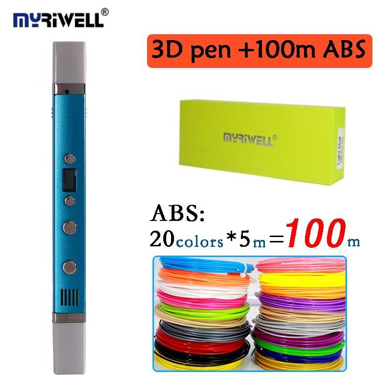 MR RB-100C Hinzufügen 100 Meter 20 Farbe ABS Filamente 3D stift 1,75mm ABS/PLA Kinder Beste Intelligenz Bildung Geschenke 3D Doodle stift