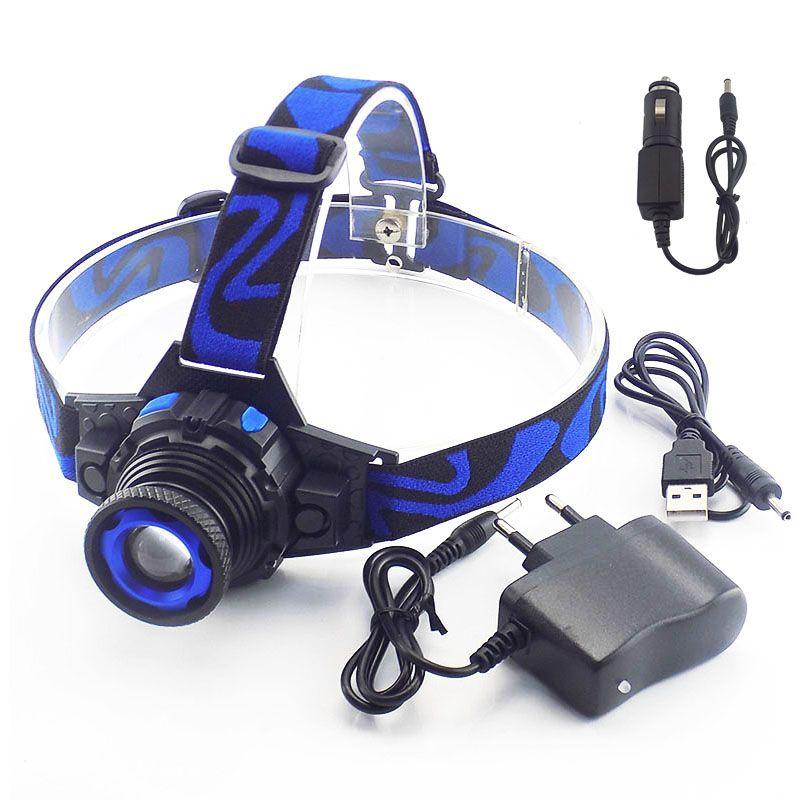 Puissant Q5 LED frontale LED phare phare lampe de poche Rechargeable Linternas lampe torche lampe frontale intégré chargeur de batterie