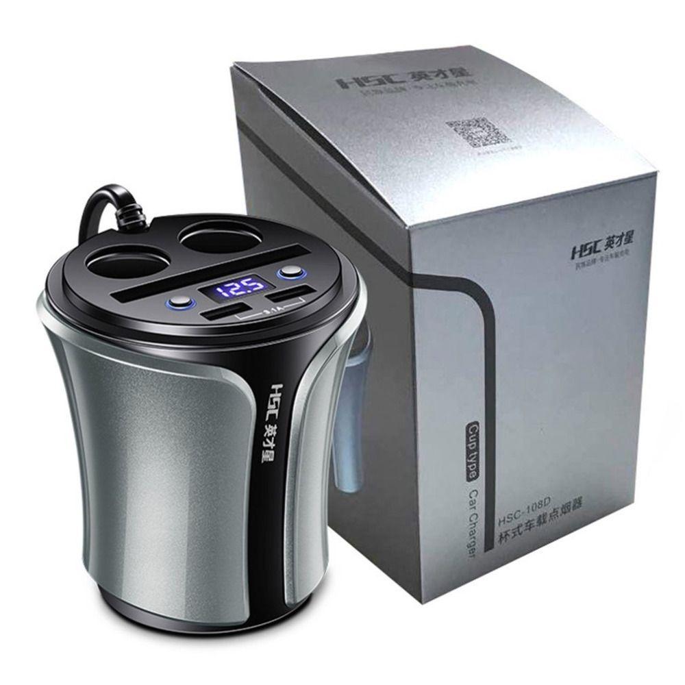 HSC 12-24 В 100 Вт + 40 Вт автомобиля Авто-прикуриватели Разъем Splitter концентратор Адаптеры питания 4 в 1 двойной USB Зарядное устройство вольтметр Пря...
