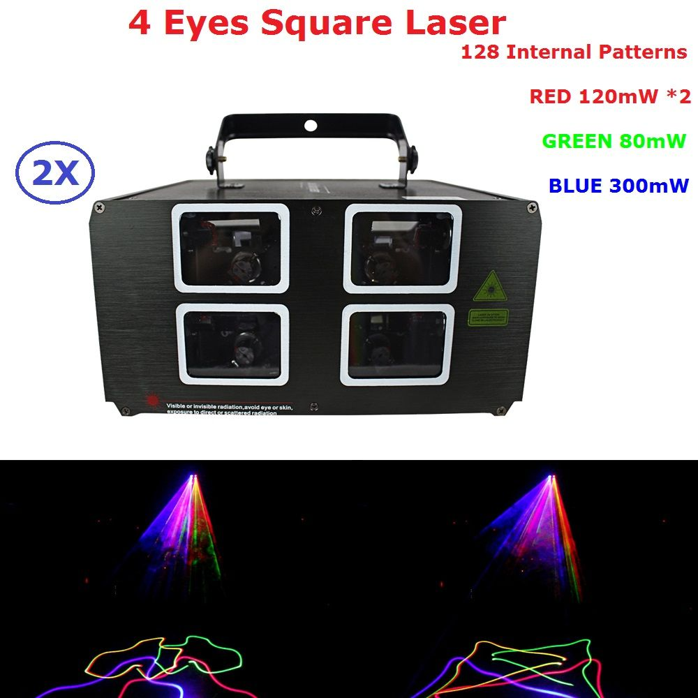 2 Pack Stage Laser Projector High Quality 620mW RGB 3IN1 4 Lens Laser Lights For Party Wedding Christmas Decoration DHL Ship