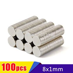 free shipping 100pcs 8x1mm Strong Disc Magnets Dia. 8mm x 1mm N50 Rare Earth Neodymium Art Craft Fridge Magnet