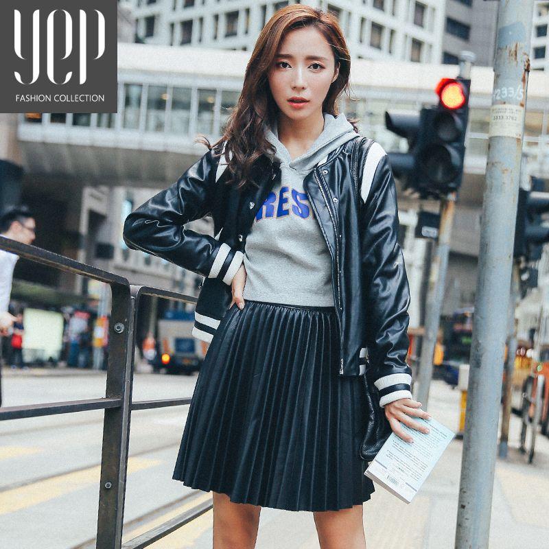 Nouveau 2017 automne mode un type pu cuir jupe plissée femmes taille élastique haute qualité original noir mini jupe femmes faldas