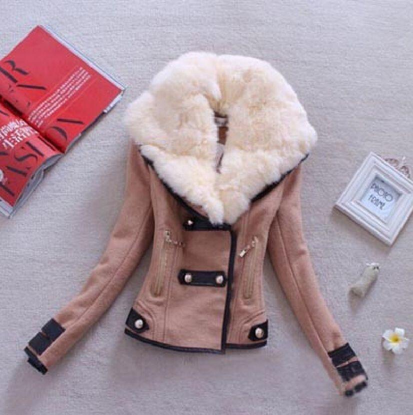 Femmes manteau en laine décontracté hiver automne 2017 mode nouvelle marque grande taille S-XXL fermeture éclair mince solide Parka Casaco Feminino