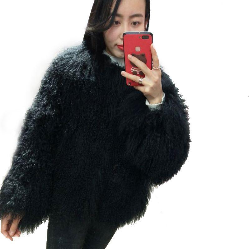 2018 fashion beach wool full leather short design coat mongolia sheep fur coat overcoat outerwear jacket women