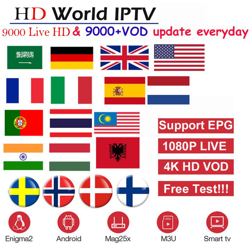 HD World IPTV +9000 Live 9000 VOD 4K HD Channel best for Europe Arabic Asian Africa Latino America Global IPTV subscription