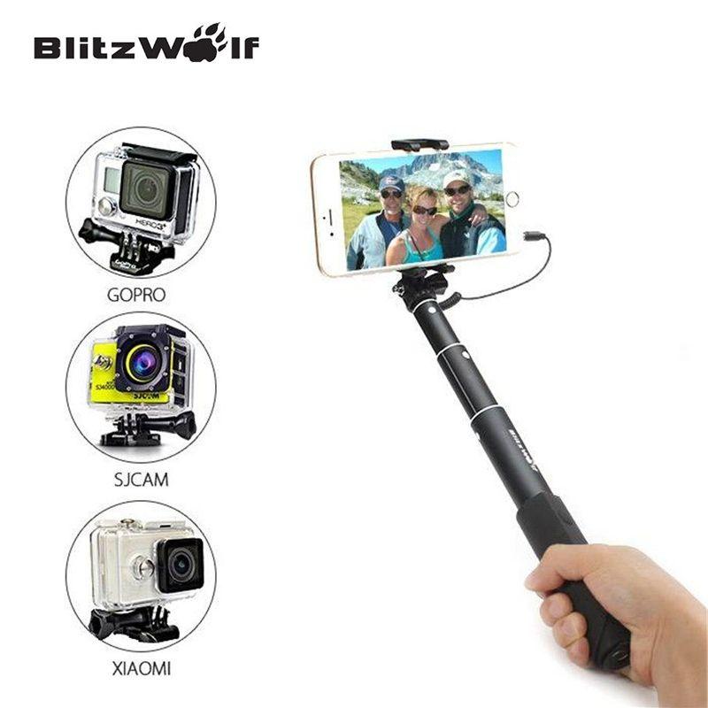 BlitzWolf Fil Contrôle Mini Extensible Selfie bâton monopode Pour iPhone 6 Pour Samsung Pour Galaxy Smartphone canne à Selfie filaire