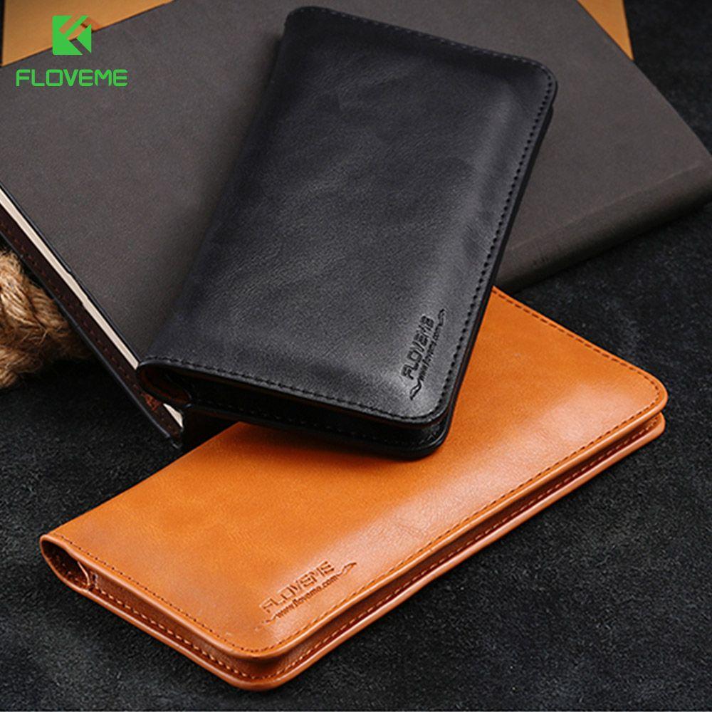 FLOVEME Universal Portefeuille En Cuir Véritable étui pour iphone X 8 7 6 6 S Plus Pour Samsung Galaxy Note 8 S8 S9 Plus S7 S6 Pochette Cas