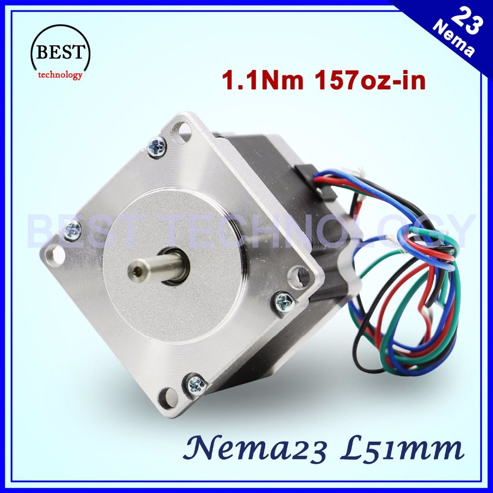 NEMA23 moteur pas à pas 57X51mm 2.8A 1.1N.m moteur pas à pas 157Oz-in Nema 23 CNC pour routeur gravure fraisage machine 3D imprimante