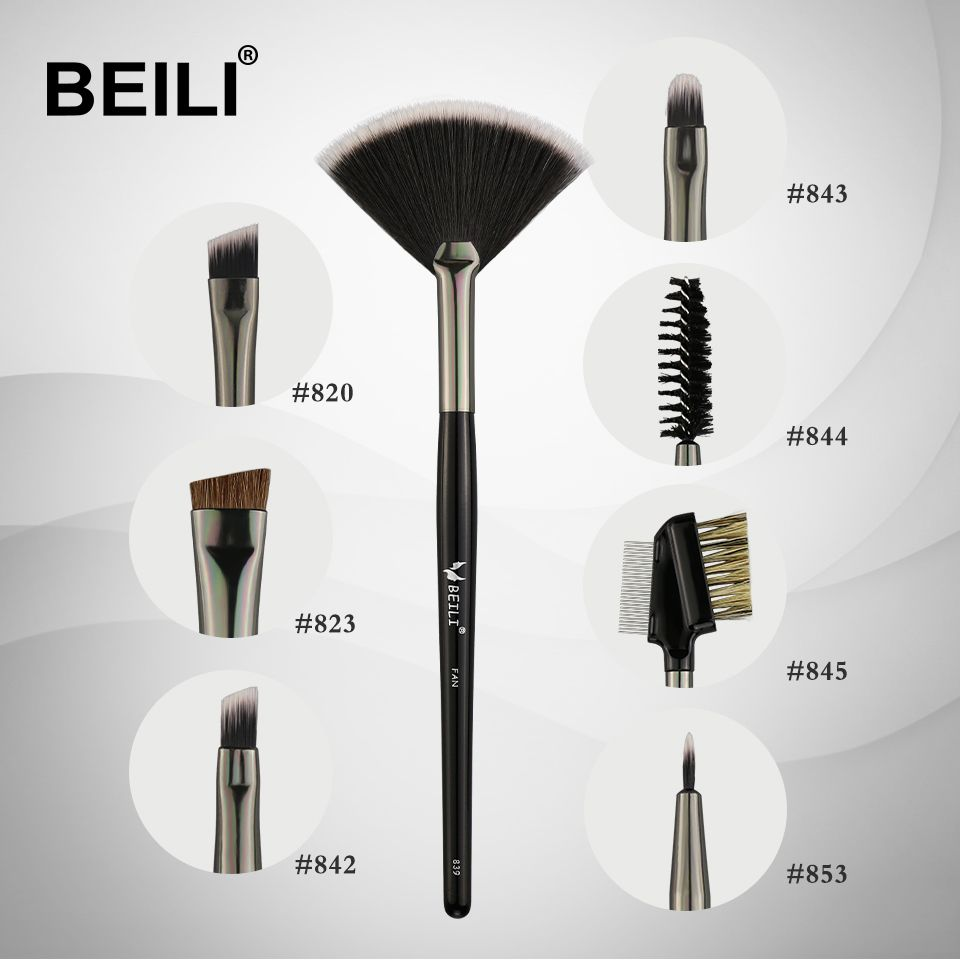 BEILI 1 stück Fan pinsel für Augenbraue fan Lip Highlight Wimpern Synthetische haar Einzelnen Make-Up Pinsel