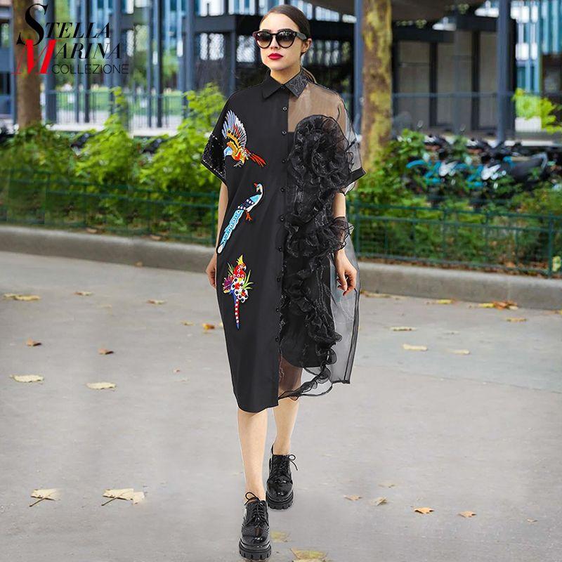 New 2018 Summer Women Black Mesh Shirt Dress Plus Size Ruffle Bird Embroidery Big Size Girls Sheer Midi Dress Party Dresses 3392