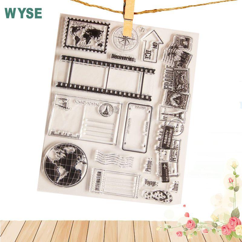 Handwerk tool Stempel vintage world travel erde karte Clear stamps/dichtung für DIY Scrapbooking stempel fotoalbum Dekorative